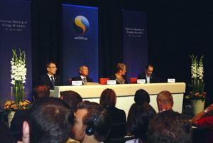 Ordförandeskapet höll sin första presskonferens i går. Det handlade till stor del om behovet av energieffektivisering.   Foto: Elisabet Rydell-Janson