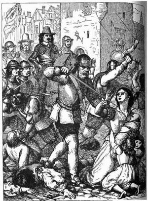 Engelska inbördeskriget var synnerligen brutalt. Under massakern i den irländska staden Drogheda 1649 dödades upp till 800 civila. Illustration av Henry Edward Doyle från 1868.