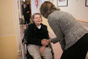 Ylva Schmidt var en av de boende som fick en liten pratstund med drottningen.