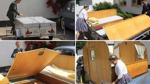 Uppfällning av husvagnen, likt Musse Piggs husvagn från Kalle Anka på julafton.