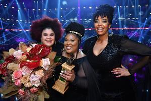 LouLou Lamotte, Ashley Haynes, och Dina Yonas Manna i The Mamas vann Melodifestivalens final 2020.