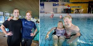 Badvärdarna Sofi Nordkvist och Josefine Persson har arbetat med 50-årsjubileumet av Eyrabadet som firar 50 år i september. Anita Skantz och Bernt Eliasson hör till stamgästerna i badet.