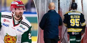 Nick Olesen fick matchstraff mot Thomas Skogs Mora. Foto: Andreas L Eriksson (Bildbyrån).