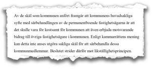 Kammarrätten tycker inte att ekonomiska skäl räcker för att särbehandla kommunmedlemmar.