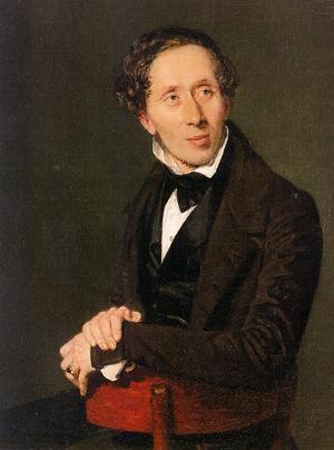 H C Andersen. Målning av Christian Albrecht Jensen från 1836.