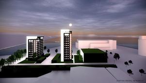 På  de översta våningarna kommer utsikten sträcka sig både ut mot Ö-viksfjärden men också in mot staden. Stefan Sjöberg och Hans Blomqvist hoppas kunna vara igång med bygget inom ett år. Skiss: Staffan Lindahl/TM Konsult