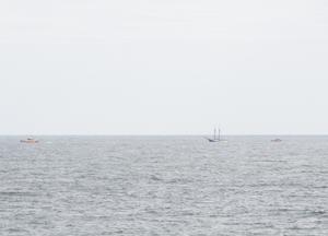 Sjöräddningen drog igång en stor insats under förmiddagen. Bild: Läsarbild/Tea Kylberg
