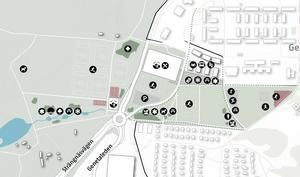 Klockarvägen flyttas för ge plats åt en ny arena och bollplaner intill Strängnäsvägen. I väst föreslås en dagvattenanläggning ner mot Lilla Måsnaren. Illustration: Södertälje kommun