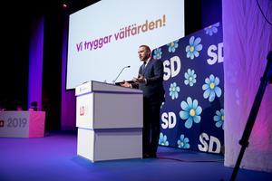 Partistyrelsens Mattias Karlsson talar på Sverigedemokraternas landsdagar. Tidvis liknade det en östtysk partikongress.