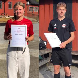 Rune Johanssons pris, till Roslagsbro IF:s mest lovande ungdomar 2019, gick till Hanna Ingerby och Fredrik Månström. Foto: Roslagsbro IF