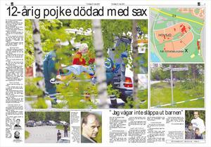 Så här såg det ut i LT 2001 när den 11-årige pojken (enligt första uppgifter var han 12 år) hittades dödad i Hovsjö.