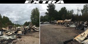 En större förrådsbyggnad brann ned under lördagen.