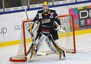 Borlänges stjärnmålvakt Marcus Hellgren Smed mellan stolparna.