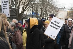Manifestationen på fredagen lockade många till Storgatan mellan gallerierna Fyren och Guldsmeden.