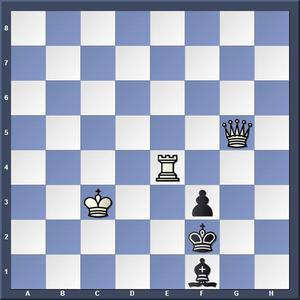 Lösning: 1.Te1 Kxe1 2.Dd2/ 1.-,Le2 2.Dg1/ 1.-,Lg2 2.Dh4