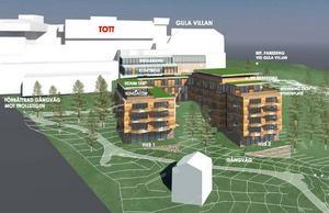 Det här är arkitektens idéskiss av den nya hotellbyggnaden. Två flyglar planeras att byggas mot väster.