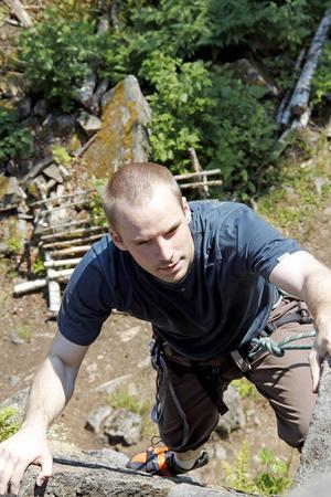 Christoffer Dahlberg från Hofors vid toppen, 13 meter över marken.