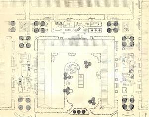 4 augusti 1977. Skissen antyder hur gångarna och innergårdarna kan förvandlas. En mängd olika lekredskap, sittgrupper, bersåer och häckar har ritats in, bärbuskar och grönsaksland likaså.