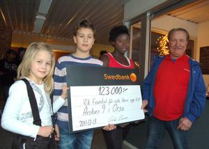 Eleverna Irma Häggström, Kyrkbyn, Oliver Såsser, Digerberget, och Mariatou Jarjue, Orsaskolan, fick ta emot checken på 123 000 kronor av Tord Rosén.