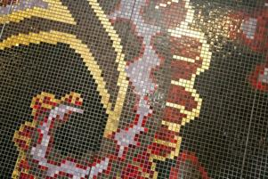 Närstudie av mosaikväggen till Formexmässan.