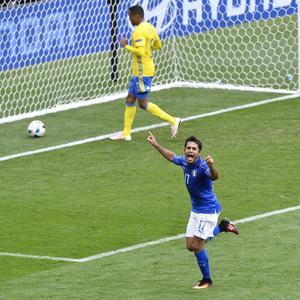 Eder jublar efter matchens enda mål.