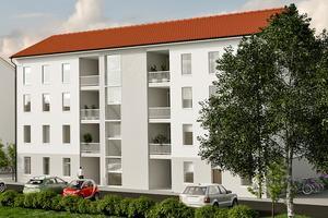 Ungefär så här kommer de fyra husen på Hakon Ahlbergs väg att se ut. De får elva lägenheter vardera.