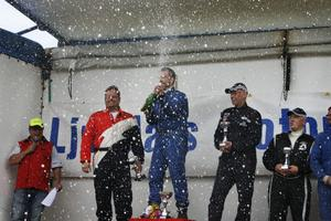 Peter Karlsson, Ljusdals MS, firar segern i klass tre.