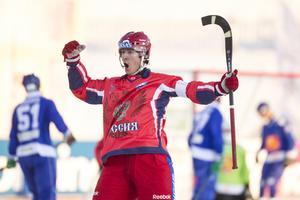 Rysslands Sergej Lomanov under finalen mellan Ryssland och Finland vid bandy-VM i ryska Uljanovsk.