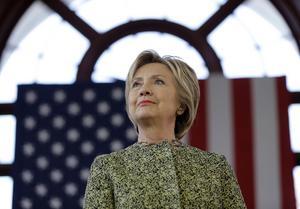 Clinton på ett valmöte i New York.