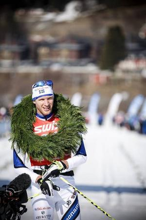 Daniel Richardsson i mål som segrare i det andra Årefjällsloppet.