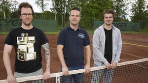 Västanfors Tennisklubb hoppas sluta tvåa, från vänster, Andreas Nordström, Mattias Lorenzson och Milos Perovic.