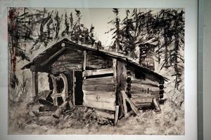 Leif Eriksson har gjort denna målning i akryl med en skogskoja.