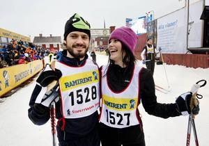 28 februari 2014: Prins Carl Philip och Sofia Hellqvist efter att ha deltagit i Stafettvasan.
