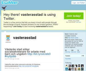Västerås stad -nu även på Twitter.