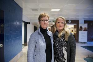 – Så länge vi inte har tillräckligt med vårdplatser kan utvecklingen på sjukhuset inte gå åt rätt håll, säger Kommunals huvudskyddsombud Gun-Inger Morin som oroas över de ökande sjukskrivningarna, här med skyddsombudet Marie Svanholm.