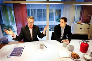 Här i Salénhusets aula hålls auktionen klockan 10 i dag.Peter Thörngren och Tobhias Brandell är de som kommer att sköta försäljningen av Maths O Sundqvists koncern Skrindan på dagens pantauktion.