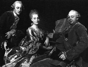Kvinnans starka ställning i de reformerta handelshusen kan knappast beskrivas bättre än på denna målning. Klanen Jennings målad av Alexander Roslin 1769.
