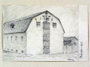 Då. Vävaren i Strömsbro dokumenterad av arkitekten och tecknaren Ferdinand Boberg.