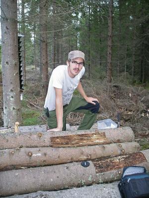 Skogsforskaren Petter Öhrn från Hedemora forskar på granbarkborrens härjningar i skogarna efter stormen Gudrun. Nyligen ledde hans upptäckter till en licentiatexamen vid Sveriges Lantbruksuniversitet.