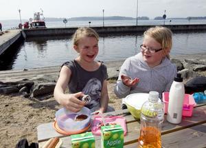 Adina Lönn och Linnea Larsson hade med sig smarrigt fika i form av chokladbollar och muffins.