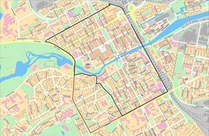 Zonen i centrala Gävle där det kostar att parkera är på förslag att utökas. Det nya området markeras med den röda linjen.