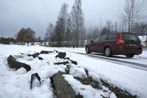 Plogbilen hamnade lite fel på ett avsnitt på Ängsgatan, nära Stensvedens förskola.