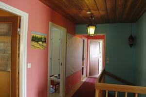 Inga väggar ska vara vita, om Zandra får bestämma, och det får hon ju. Här är den färgstarka hallen.