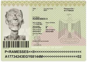 Ramses II:s pass utfärdades före en flygresa till Frankriken. Foto: Printscreen.