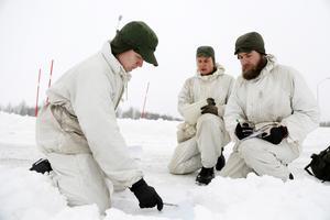 Viktor Åberg, Kristoffer Backe och Alexander Bergström studerar alla på officersprogrammet och Luftvärnets stridsskola. De är på Frösön för en övning i ny miljö.