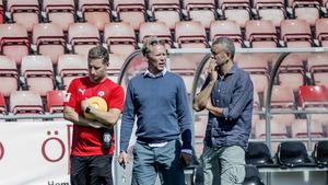 En översyn av hela organisationen pågår inom ÖSK. Här är tränaren Axel Kjäll, sportchefen Magnus Sköldmark och ordförande Carl Pauly.