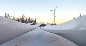 Blad till verken i väntan på montering på cirka 125 meters höjd i vindparken Munkflohögen. Foto: Pressbild Vasa Vind