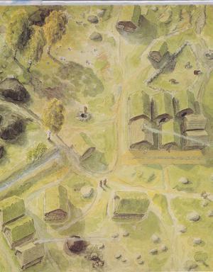 Rekonstruktion av utgrävda delar av Gruvbyn – senare delen av 1500-talet. Källargrundshus med visst inslag av stadsplanering. Om man idag går in på Gruvby området är det lätt att identifiera både brunnen och avloppsdiket. Diket ledde direkt till Sagån och måste ha spridit en hemsk odör på 1500-talet. Illustration ur boken Sala gruvby utgiven av Sala kommun efter arkeologiska utgrävningarna 1984-85.