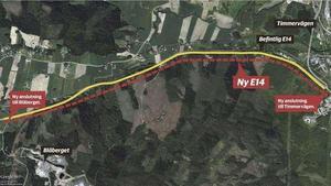 Sträckan mellan Timmervägen och Blåberget byggs om med fyrfilig motorväg.