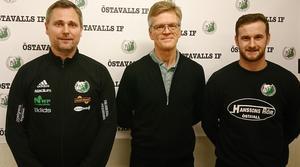 David Nordberg, till vänster, kompletteras vad gäller tränarskapet av Sören Ericson (mentor och rådgivare) och Jordan Binns (spelande assisterande). Saknas på bilden gör Jonas Vestring (mentor).